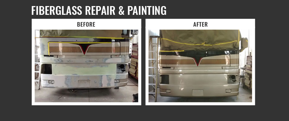 fiberglass repair and painting - before and after