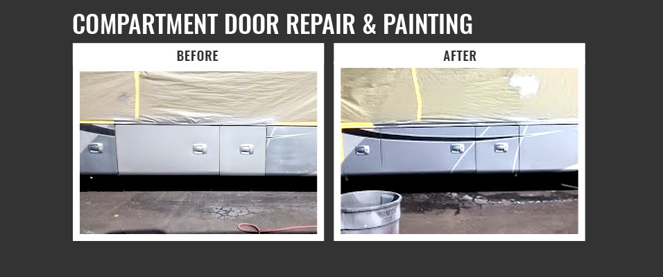 compartment door repair and painting - before and after